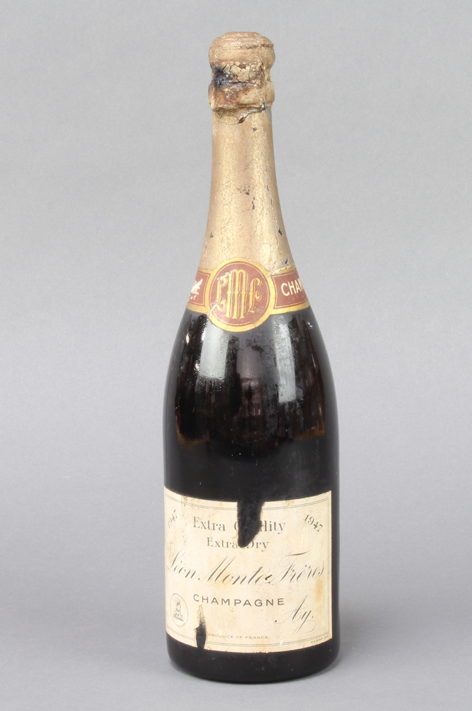 A bottle of 1947 Extra Quality Extra Dry Leon Monte Fieres Champagne