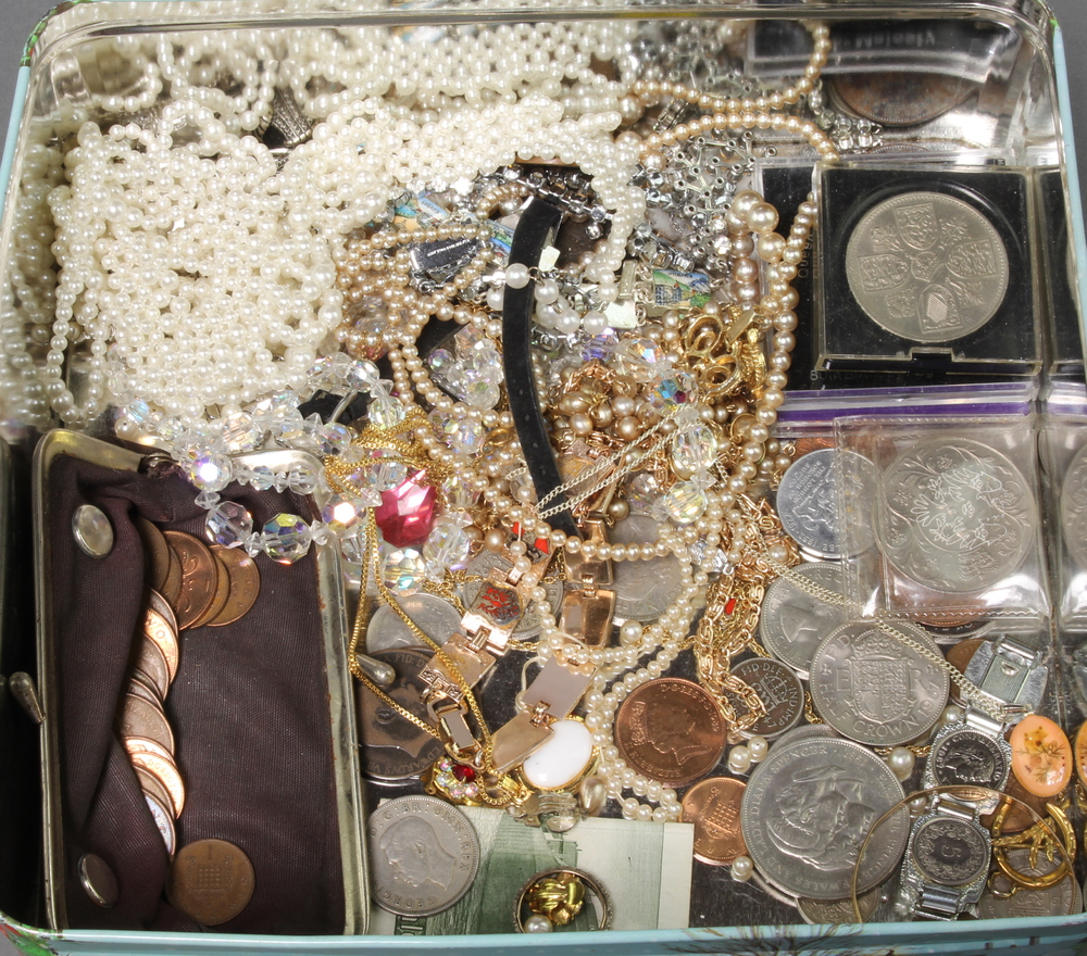 A quantity of vintage and other costume jewellery and coins