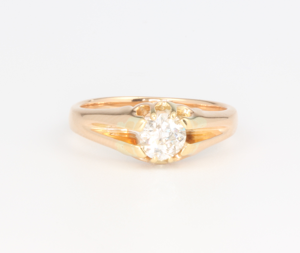 A gentleman's yellow gold single stone brilliant cut diamond ring approx. 0.5ct, 4.2 grams, size L