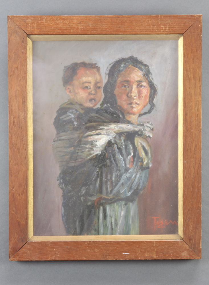 Two oils on panel, a Tibetan mother and child and a woman at prayer, signed Toshm/Tushm 39cm x 29cm - Image 3 of 3