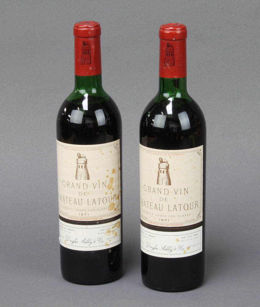 Two bottles of 1971 Chateau Latour Grand Vin, imported by Douglas Ashby & Co The wine is slightly