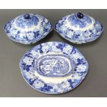 A Woods Ware English scenery tureen, lid and ladle (cracked lid), ditto pair of vegetable dishes and