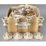 Four silver plated candlestick and minor plated wares