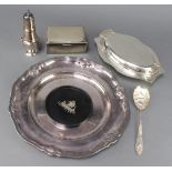 A silver plated salver 34cm and minor plated wares