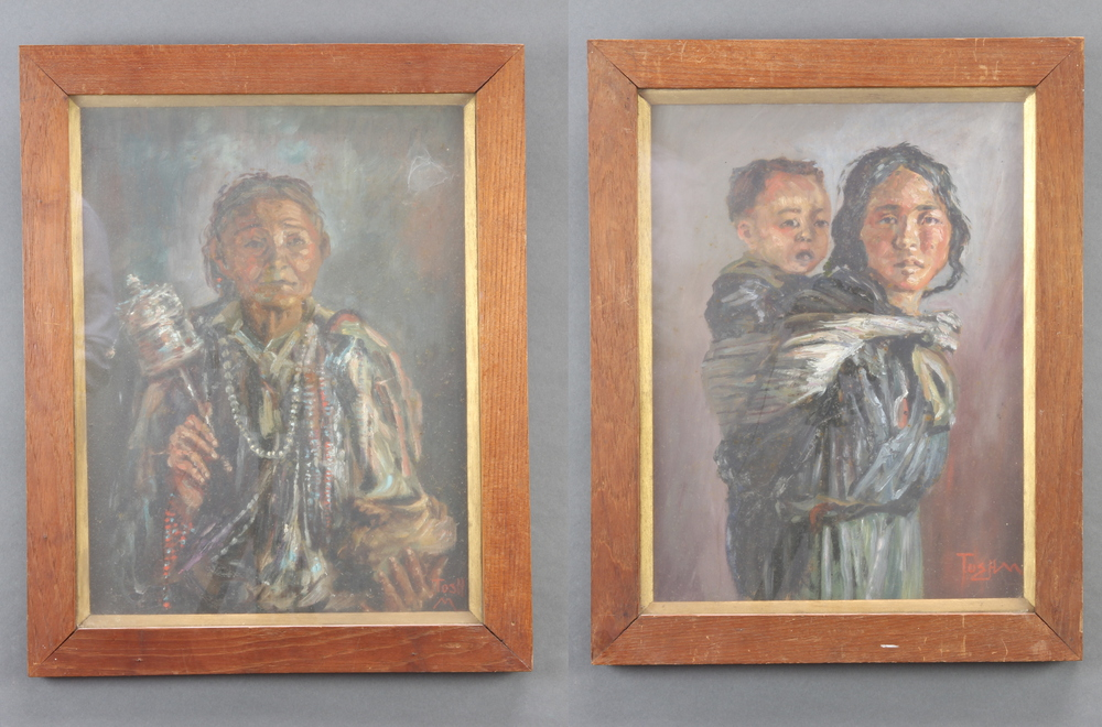Two oils on panel, a Tibetan mother and child and a woman at prayer, signed Toshm/Tushm 39cm x 29cm