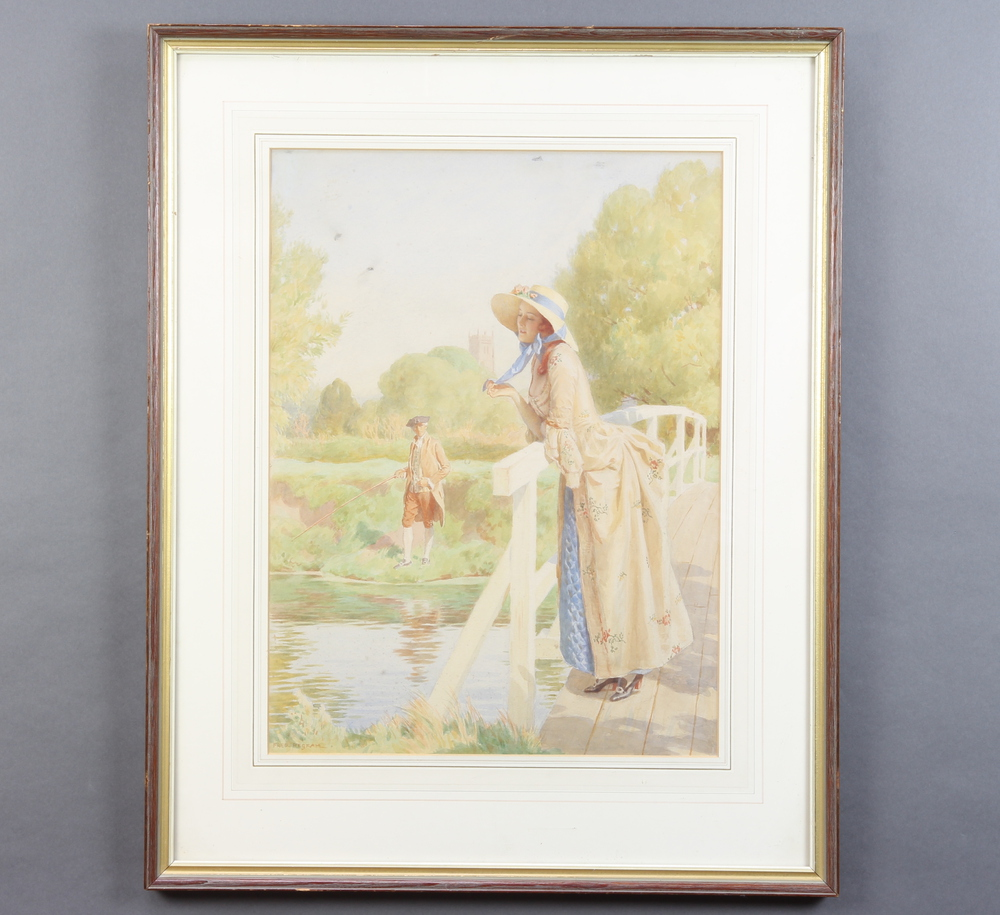 Fred Pegram, watercolour signed, a wistful lady on a bridge with a gentleman fishing, 50cm x 40cm - Image 2 of 2