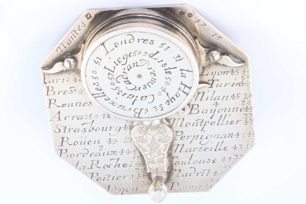 A rare silver pocket sundial and compass by Michael Butterfield, Paris, circa 1700 contained in an - Image 3 of 3