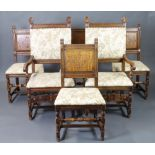 A set of 6 19th/20th Century Italian carved walnut high back dining chairs with upholstered