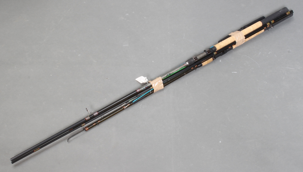 A Shimano graphite coil match fishing rod, 1 other match rod and 2 childrens fishing rods