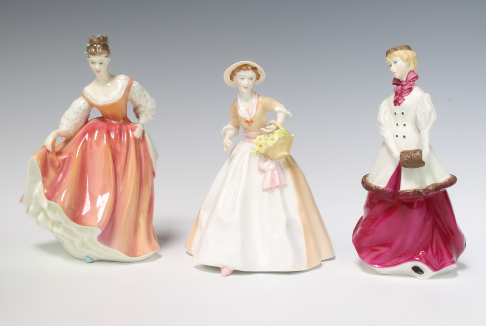 A Royal Doulton figure - Fair Lady (coral pink) HN2835 19cm, 2 Royal Worcester figures - Winter