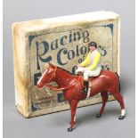 """W Britains """"Racing Colours of Famous Owners, Lord Londonderry"""" a figure of race horse with jockey up"""
