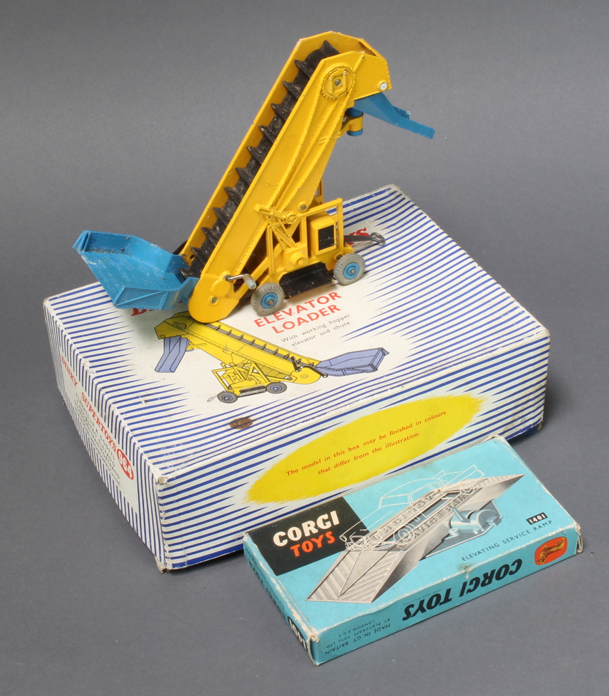 Dinky Supertoys, a 1964 elevator loader in blue and white striped box together with a Corgi Toys