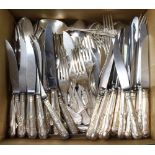 A large quantity of plated Kings Pattern cutlery (153)