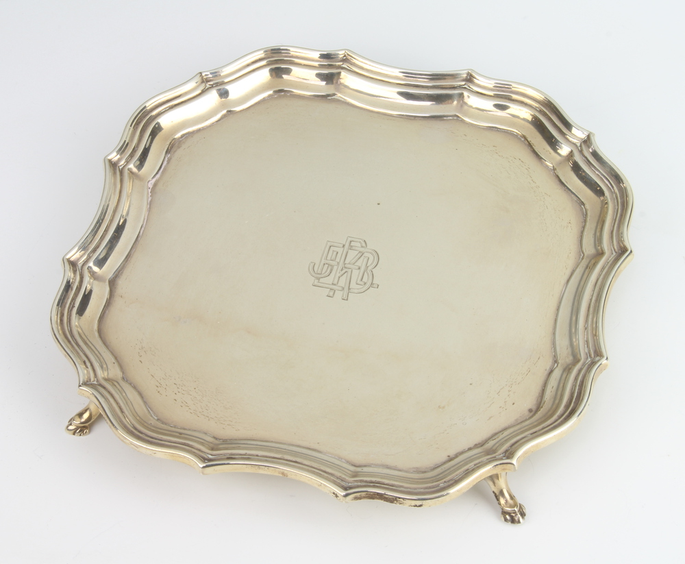 A Chippendale style silver card tray with engraved monogram, Chester 1926, 18cm, 268 grams