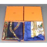Hermes, two lady's silk scarves - Festival des Amazones and Bateau a Vapeur both boxed, 87cm x