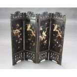 A Victorian ebonised and carved ivory 4 fold fire screen decorated birds amidst branches 99cm h x