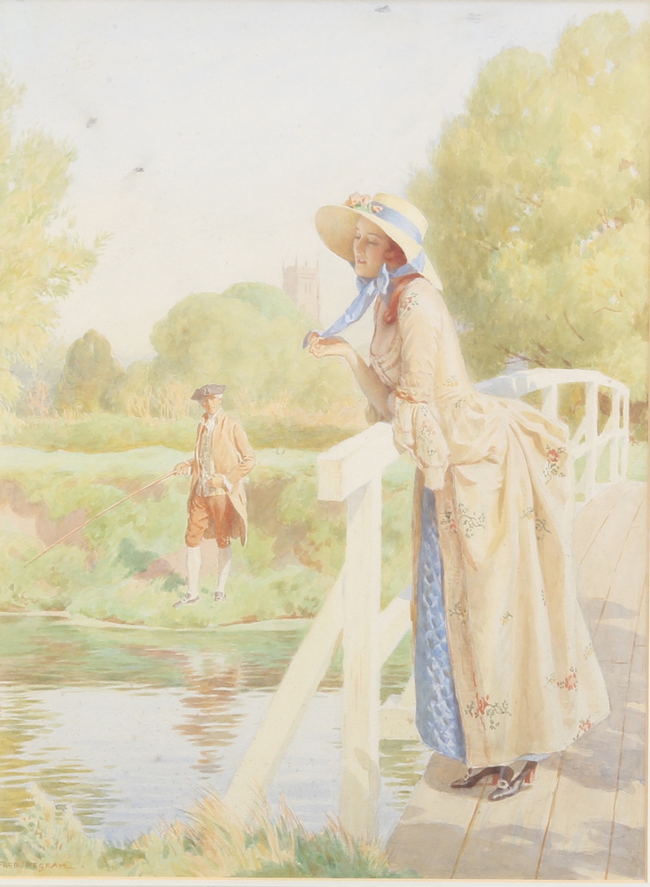 Fred Pegram, watercolour signed, a wistful lady on a bridge with a gentleman fishing, 50cm x 40cm