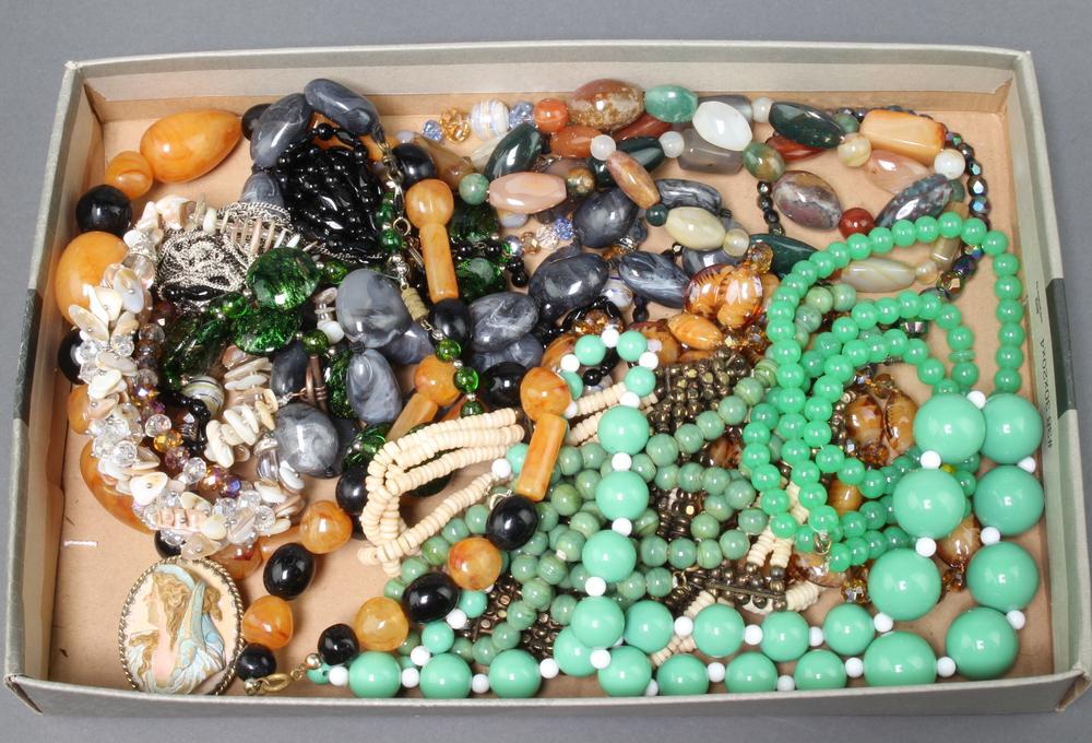 A quantity of vintage necklaces etc
