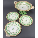A Samuel Alcock Victorian dessert service comprising 2 handled tazza, 4 shaped dishes, 2 oval
