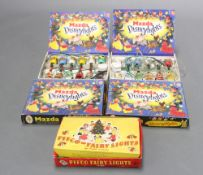 Two boxed sets of Mazda Disney lights, a set of Pifco fairy lights