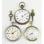 A silver cased mechanical movement pocket watch London 1905, a gilt ditto and a chrome ditto None of