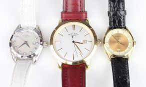 A gentleman's gilt cased Rotary calendar wristwatch, a lady's Sekonda ditto and a lady's Rotary