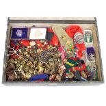 A silver and enamelled sports fob, 3 bronze medallions, 4 silver scout badges, a quantity of