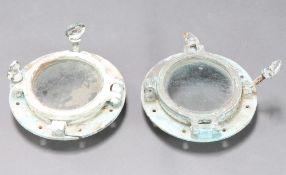 Two bronze and glass port holes 29cm diam x 10cm d