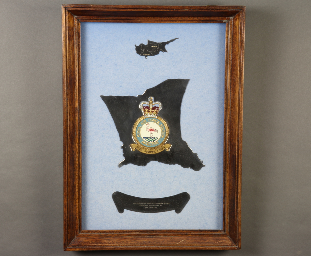 A Royal Air Force Station Akrotiri presentation metal plaque, marked Presented to Princess Marina