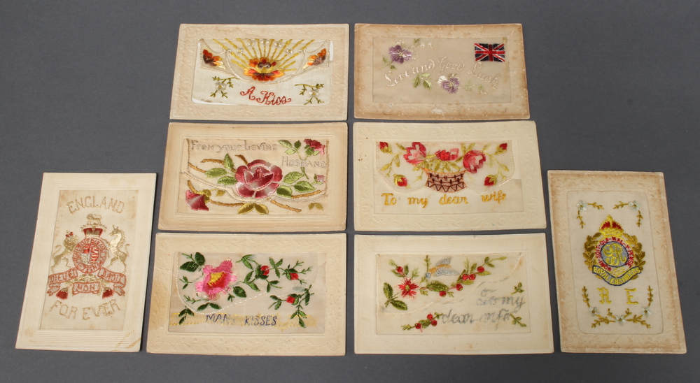 Eight First World War embroidered greetings cards One slightly damaged and all are slightly