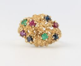 A 9ct yellow gold vintage gem set cocktail ring 5.8 grams, size P