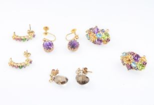 Four pairs of 9ct yellow gold gem set earrings, 15.5 grams