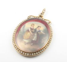 A 9ct yellow gold pendant set with seed pearls, now containing a painted porcelain plaque