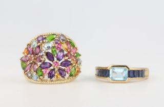 A 9ct yellow gold gem set cocktail ring, a ditto, sizes N and P, 8.5 grams