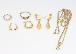 Two pairs of 9ct yellow gold earrings, 1 earring, a necklace with pendant and a ring 9.5 grams