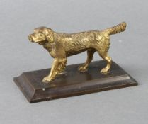 A gilt bronze paperweight in the form of a walking dog raised on a rectangular base 7cm h x 13cm w x