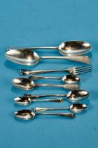 TWO GEORGE II SILVER DESSERT SPOONS, London 1731 and 1738, five various Georgian silver TEASPOONS, a