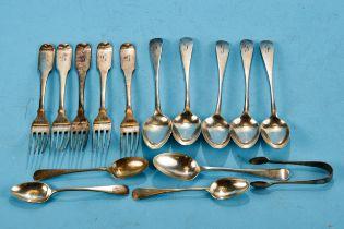FIVE WILLIAM IV IRISH SILVER FIDDLE PATTERN DESSERT FORKS, maker: T&W, Dublin 1831, five silver