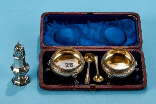 A PAIR OF VICTORIAN CIRCULAR SILVER SALT CELLARS, foliate engraved on cabriole legs with matching
