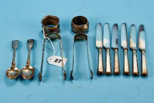 A PAIR OF WILLIAM IV SHELL AND THREAD PATTERN SILVER SUGAR TONGS, maker: WT, London 1836, a bright