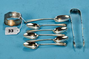 A PAIR OF VICTORIAN SILVER FIDDLE PATTERN SUGAR TONGS, maker:- BS, London 1840, six various silver