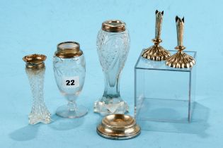THREE CUT GLASS BUD VASES each with hallmarked silver collars, a circular silver PIN DISH,