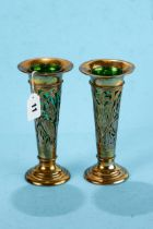 A PAIR OF EDWARDIAN PIERCED SILVER TRUMPET SHAPED VASES decorated with birds amongst flowers and