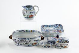 A PAIR OF 19TH CENTURY MASONS IRONSTONE FLORAL DECORATED SQUARE DISHES, 8 1/2 ins sq, a 19th Century