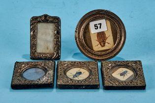 THREE SMALL EDWARDIAN SQUARE SILVER EMBOSSED PHOTO FRAMES, maker: FJH, Birmingham 1902, each 3 ins