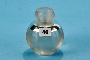 A LARGE SILVER MOUNTED GLOBULAR GLASS TABLE VESTA HOLDER/STRIKER with detachable upper section,