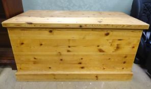 "A 20thC pine trunk. Approx. 37"" wide Please Note - we do not make reference to the condition of lots"