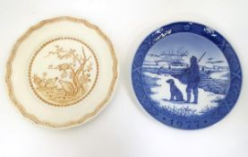 Two game / shooting plates comprising a Royal Copenhagen 1977 Immervad Bridge plate and a