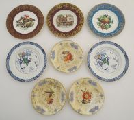 A quantity of assorted plates, two Booths plates in the pattern Netherland, three with floral