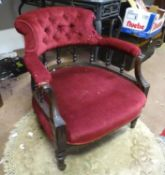 "An upholstered armchair with carved supports. Approx. 29"" tall Please Note - we do not make"